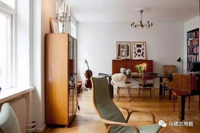 复古风格搭配黄褐色木地板